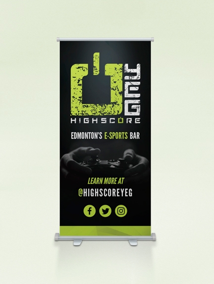 High Score E-Sports Bar & Gaming Lounge – Rollup Banner